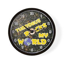 Thaddeus Rocks My World (Gold) Wall Clock