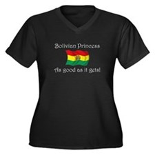 Bolivian Princess Women's Plus Size V-Neck Dark T-