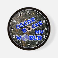 Oscar Rocks My World (Blue) Wall Clock