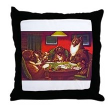 Dogs Playing Poker Waterloo Throw Pillow