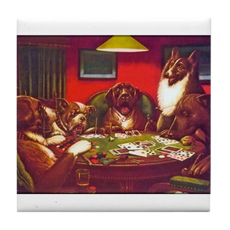 Dogs Playing Poker Waterloo Tile Coaster