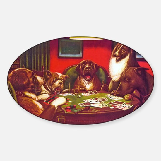 Dogs Playing Poker Waterloo Oval Decal