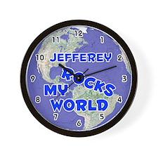 Jefferey Rocks My World (Blue) Wall Clock