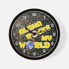 Alana Rocks My World (Gold) Wall Clock