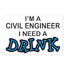 Civil Engineer Need a Drink Postcards (Package of