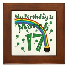 St. Patrick's Day March 17th Birthday Framed Tile