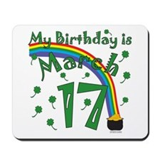 St. Patrick's Day March 17th Birthday Mousepad