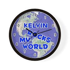 Kelvin Rocks My World (Blue) Wall Clock