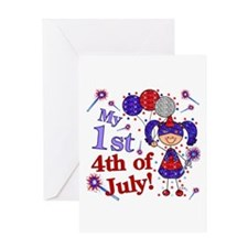 1st July 4th Girl Blue Greeting Card