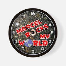 Marcel Rocks My World (Red) Wall Clock