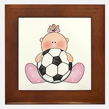 Lil Soccer Baby Girl Framed Tile