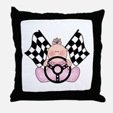 Lil Race Winner Baby Girl Throw Pillow