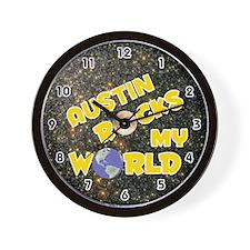 Austin Rocks My World (Gold) Wall Clock