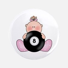 "Lil Billiards Baby Girl 3.5"" Button"