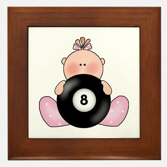 Lil Billiards Baby Girl Framed Tile