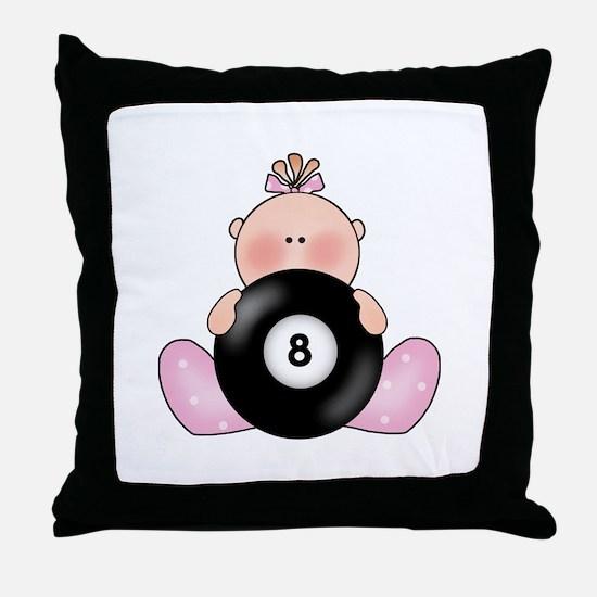 Lil Billiards Baby Girl Throw Pillow