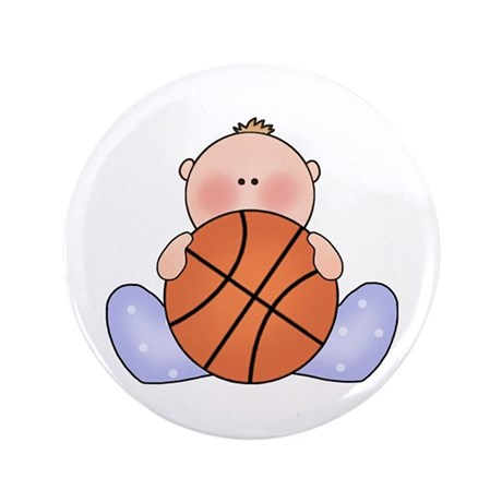 "Lil Basketball Baby Boy 3.5"" Button"