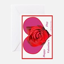 Red Rose on Pink Heart Greeting Card