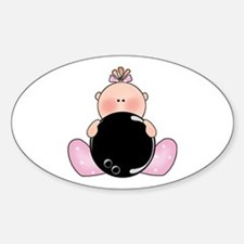 Lil Bowling Baby Girl Oval Decal