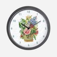 Basket of Spring Flowers Wall Clock