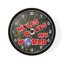 Myles Rocks My World (Red) Wall Clock