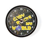 Cary Rocks My World (Gold) Wall Clock