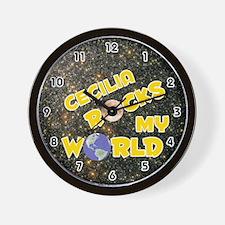 Cecilia Rocks My World (Gold) Wall Clock