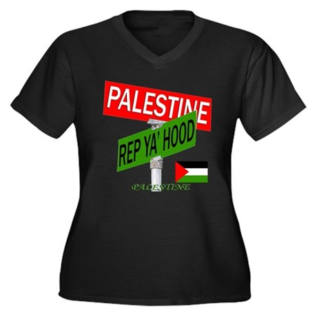 REP PALESTINE Women's Plus Size V-Neck Dark T-Shir