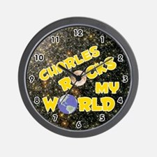 Charles Rocks My World (Gold) Wall Clock