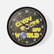 Cindy Rocks My World (Gold) Wall Clock