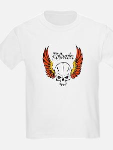 Rottweiler Flaming Skull T-Shirt
