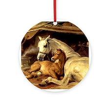 Arabian mare & foal. Horse Ornament (Round)