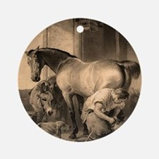 Shoeing the Bay Mare. Ornament (Round)
