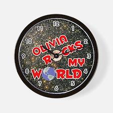 Olivia Rocks My World (Red) Wall Clock