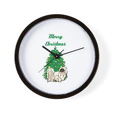 Merry Christmas Pekingese Wall Clock