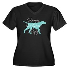 Elegant Teal GSP Dog Women's Plus Size V-Neck Dark
