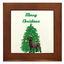 Merry Christmas Labrador Framed Tile