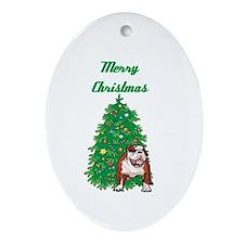 Merry Christmas Bulldog Oval Ornament