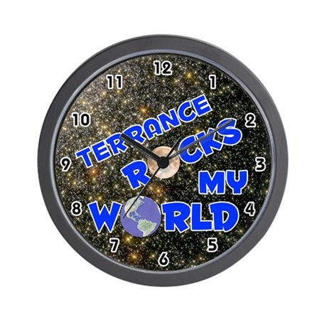 Terrance Rocks My World (Blue) Wall Clock