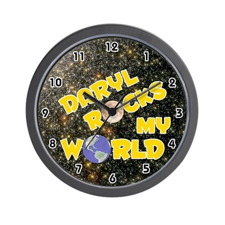 Daryl Rocks My World (Gold) Wall Clock
