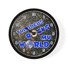 Thaddeus Rocks My World (Blue) Wall Clock