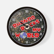 Rhonda Rocks My World (Red) Wall Clock