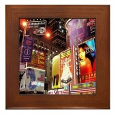 Broadway at Night Framed Tile