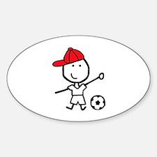 Boy & Soccer Oval Decal