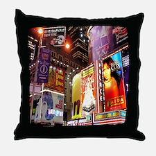 Broadway at Night Throw Pillow