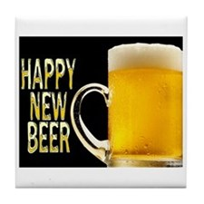 Happy New Beer Tile Coaster