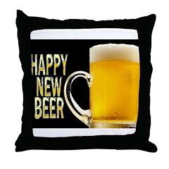 Happy New Beer Throw Pillow