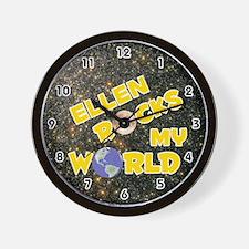 Ellen Rocks My World (Gold) Wall Clock