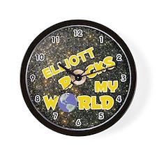 Elliott Rocks My World (Gold) Wall Clock