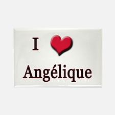 I Love (Heart) Angelique Rectangle Magnet